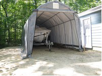 Portable boat building shelters for instant storage for Boat storage garage