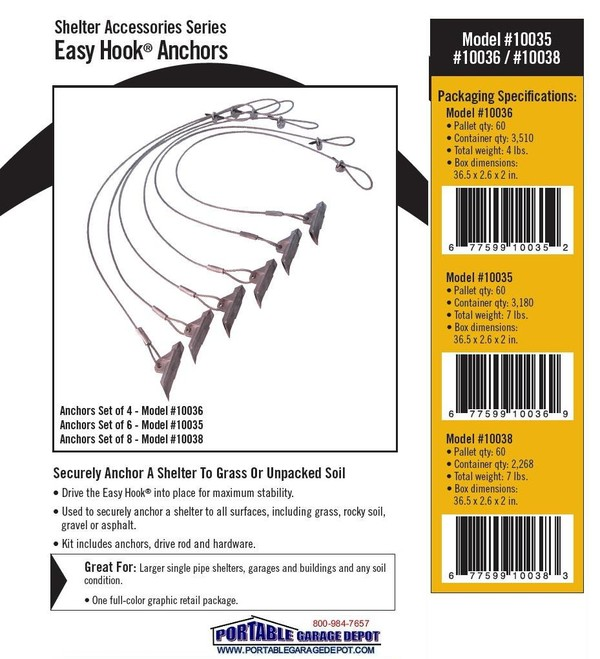 Portable Anchor On A Concrete Garage : Easy hook boat shelter anchor kit set of anchors