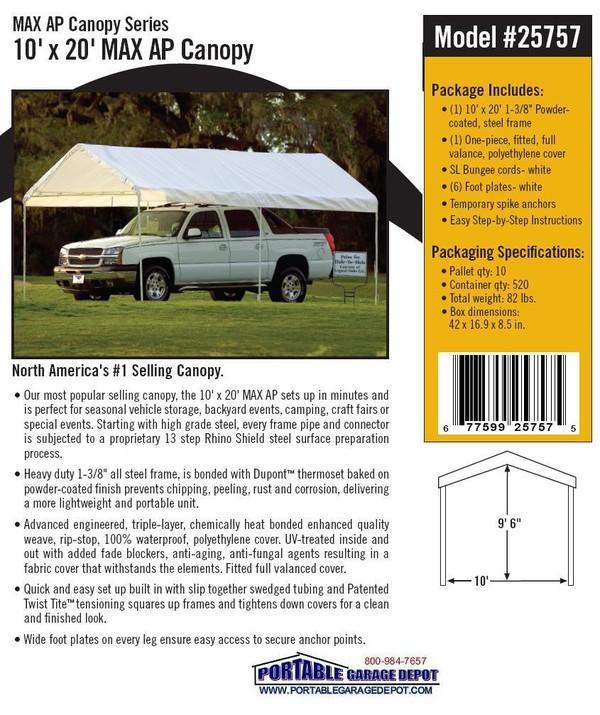 10x20 All Purpose Six Leg Canopy Shelter