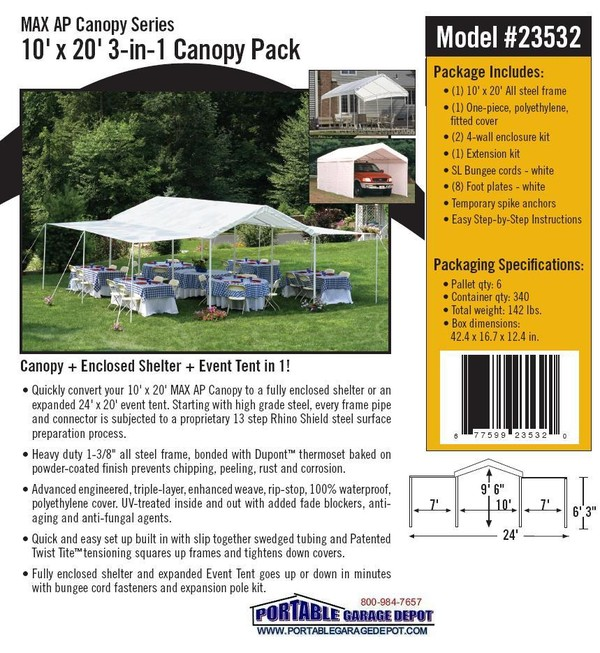 *Picture may be of similar but different size. Click picture for larger view  sc 1 st  Portable Garage Depot & 10x20 All Purpose 8 Leg 3-in-1 Canopy Shelter System
