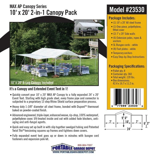 10x20 All Purpose 8 Leg Canopy with Extension Pack