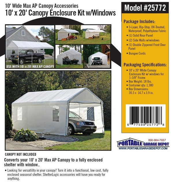 *Picture may be of similar but different size. Click picture for larger view  sc 1 st  Portable Garage Depot & 10x20 Portable Canopy Enclosure Kits With Windows
