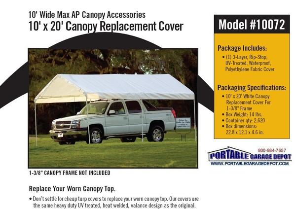 10x20 Canopy Replacement Top For 1-3/8 Inch Frame