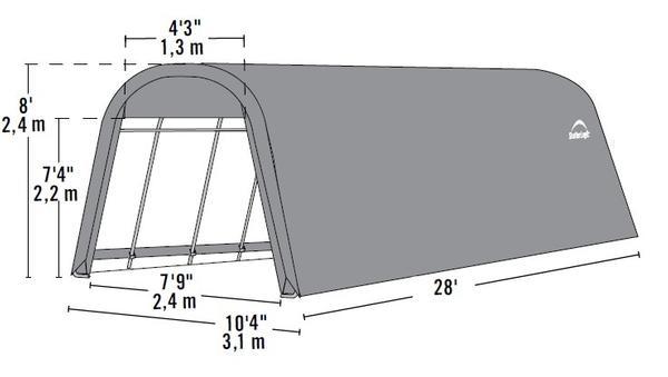 10'Wx28'Lx8'H Round Portable Garage