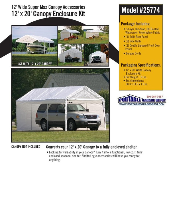 sc 1 st  Portable Garage Depot & Enclosure Kit for 12x20 Commercial Canopy