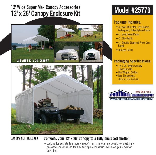 sc 1 st  Portable Garage Depot & Enclosure Kit for 12x26 Commercial Canopy