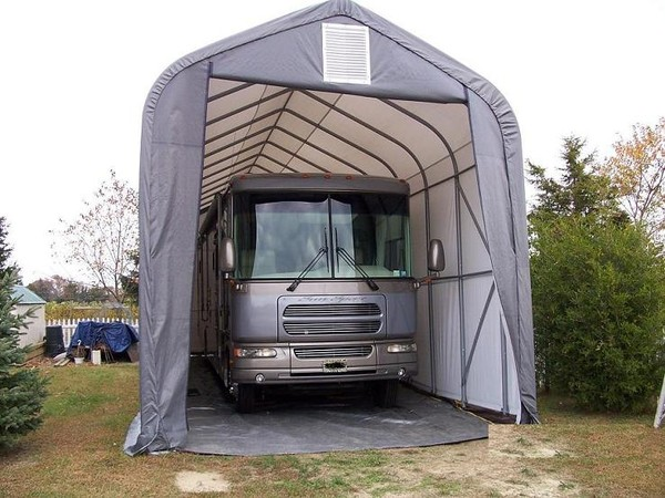 Rv campers rv garages camper covers portable garage kits for Rv garage packages