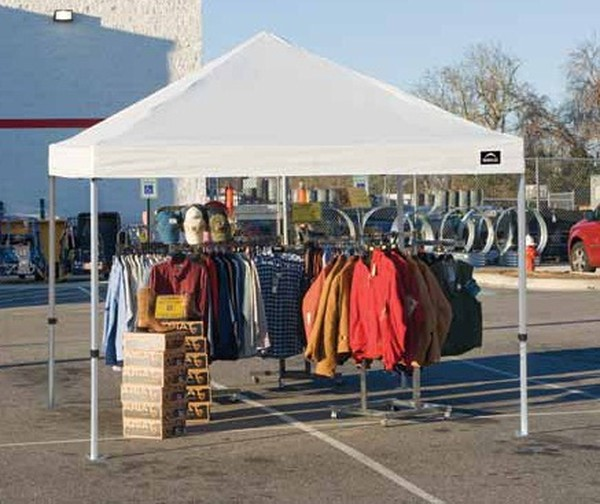 Tent Pop Up Garage : Preparing for a flea market with pop up tent