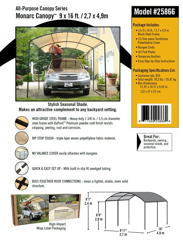 9x16 All Purpose Monarc Canopy