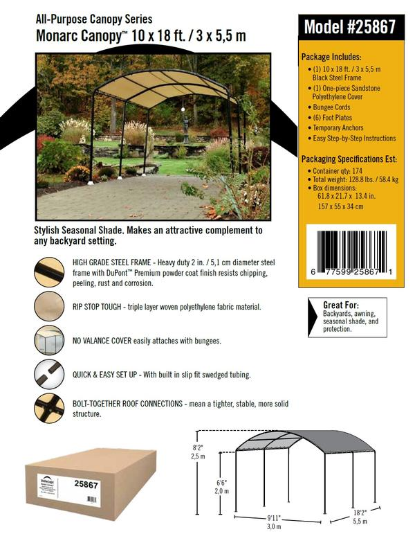 *Picture may be of similar but different size. Click picture for larger view  sc 1 st  Portable Garage Depot & 10x18 All-Purpose Monarc Canopy