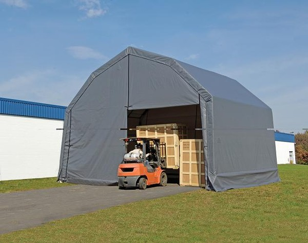 Wide Portable Carports : Wide portable polyethylene equipment storage shelters