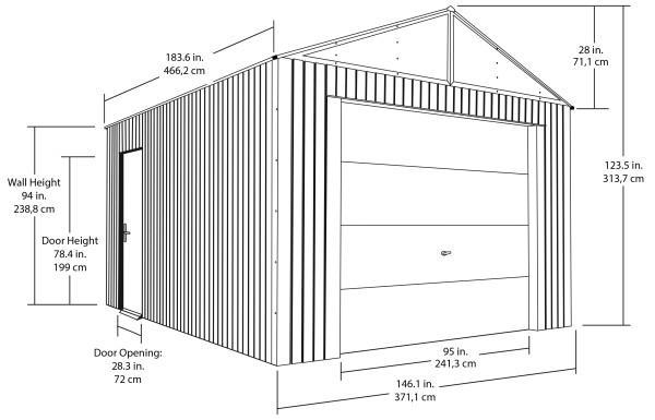 Sojag Everest Steel Garage 12'W x 15'L x 10'H