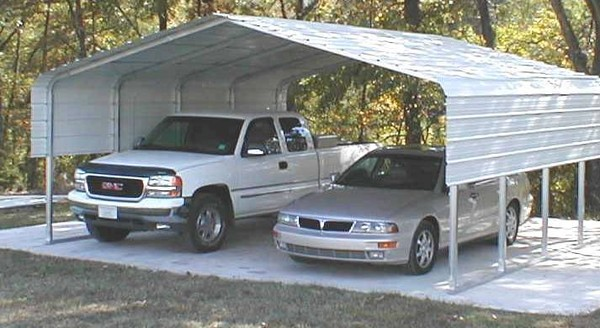Sheet Metal Side Extension for 24.5'L Metal Carport-3'Wx24.5'L